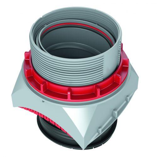 Der uniTec-Anschluss wurde mit einem Kugelgelenk ausgestattet, welches eine Abwinklung von 0° bis 11° gestattet. Foto: Funke Kunststoffe GmbH