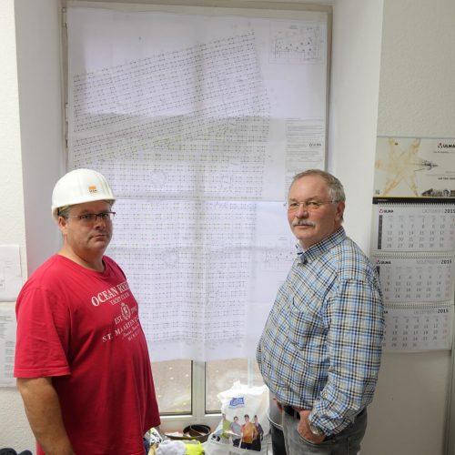 Zufrieden mit Bauablauf: Bauleiter Heiner Dölken (re.) und Polier Andreas Giambattista. Foto: ULMA