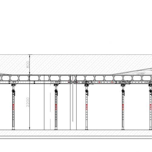 Der Umstand, dass sich die MK-Tische kraftschlüssig miteinander koppeln lassen, schuf die Voraussetzung für die Betonage der mächtigen Parkhausdecke.  Grafik: ULMA