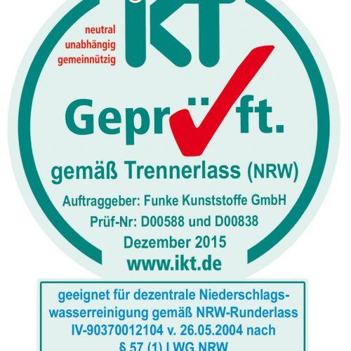 Geprüfte Qualität: Das System von Funke darf neuerdings auch das IKT-Prüfsiegel führen. Foto: Funke Kunststoffe GmbH