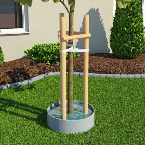 Der Funke-Gießring leitet Wasser gezielt zum Wurzelballen und sorgt so für die optimale Bewässerung von Baumsetzlingen. Foto: Funke Kunststoffe GmbH
