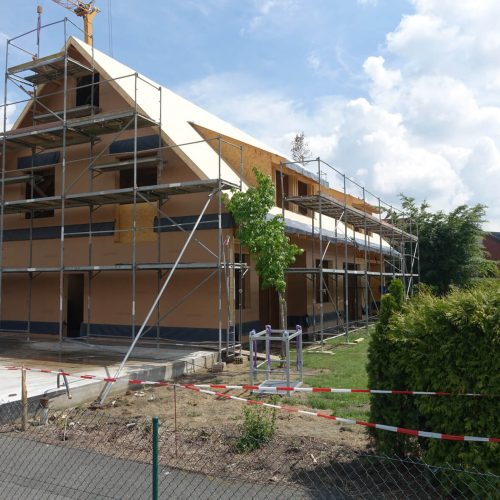 Beim eines Doppelhauses in Hoetmar wurden erstmals HS®-Kanalrohre in den Nennweiten DN/OD 110 und DN/OD 125 eingesetzt. Foto: Funke Kunststoffe GmbH