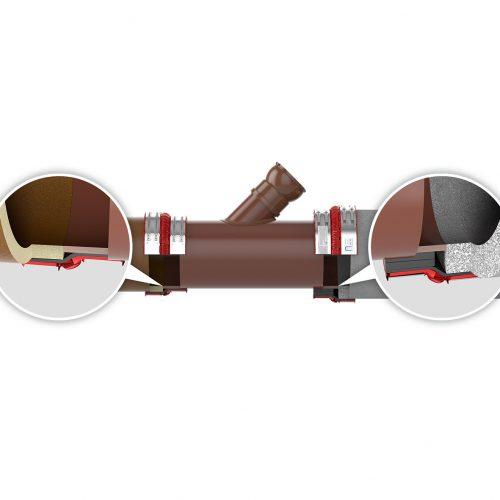 Die Innendurchmesser von Reparaturabzweig und Reparaturrohr entsprechen den Innendurchmessern der zu erneuernden Steinzeug- und Betonrohre, der Übergang ist sohlengleich. Foto: Funke Kunststoffe GmbH