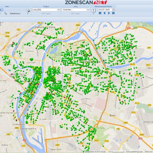 Online-Leckageüberwachung eines Trinkwassernetzes aus der Ferne am Beispiel der Stadt Lyon.  Foto: Gutermann Technology GmbH