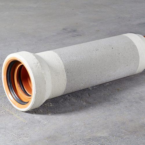 Das Doppeldichtsystem besteht bei jedem Rohr aus zwei unabhängig voneinander funktionierenden Dichtungen. Bei Rohren mit Muffenauskleidung sind die Dichtungen in der Muffe integriert. Foto: Gebr. Fasel Betonwerke GmbH