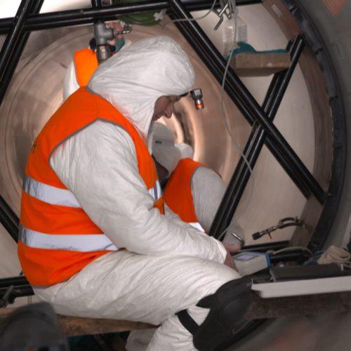 Die Druckprobe auf jeder einzelnen Rohrverbindung war eine Garantie für eine abschließende Druckprobe über 4,2 km beim ersten Baulos. Foto: Rotech
