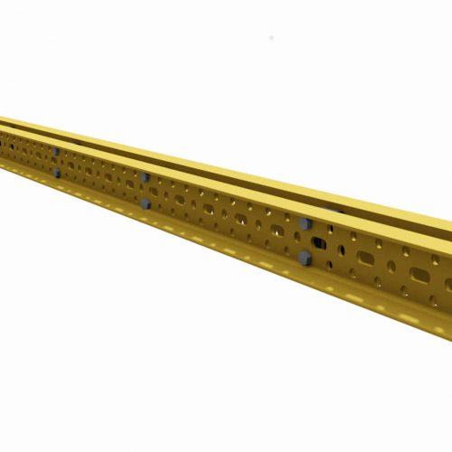 Die MK-120 bzw. MK-180 Riegel bilden das Grundelement des MK-Systems. Es besteht aus zwei miteinander verschraubten UPN-Profilen mit dreireihigem Lochraser im Steg. Werden zwei oder mehrere Fachwerkträger mittels Diagonalen zueinander ausgesteift, so bildet diese Gesamtkonstruktion neben der Stabilität auch die Aussteifung gegen Wind quer zur Hauptachse.  Fotos: ULMA