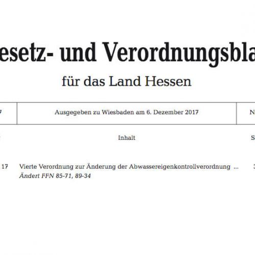 Die Bekanntgabe der konsolidierten Fassung der novellierten EKVO Hessen erfolgte im Gesetz- und Verordnungsblatt für das Land Hessen. Abb.: Hessisches Ministerium für Umwelt, Klimaschutz, Landwirtschaft und Verbraucherschutz, Wiesbaden