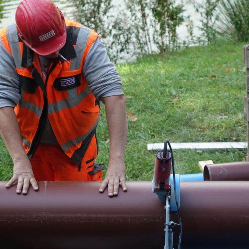 Die Längen der HS®-Kanalrohre können den Erfordernissen vor Ort entsprechend einfach angepasst werden. Foto: Funke Kunststoffe GmbH