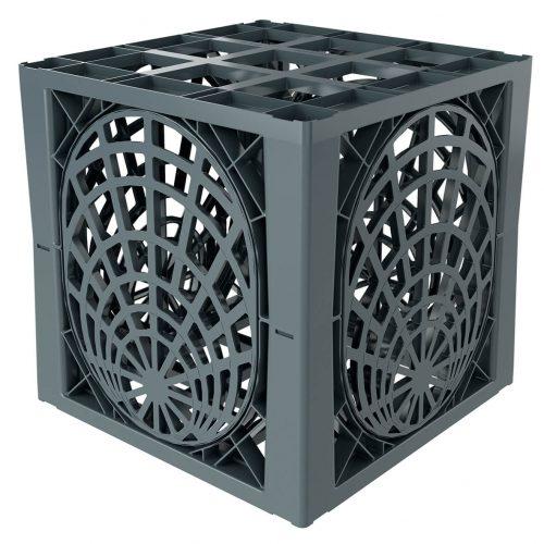 Die Konstruktion mit jeweils vier lastabtragenden Säulen je Element sorgt für eine optimale Kraftübertragung ins umliegende Erdreich.  Foto: Funke Kunststoffe