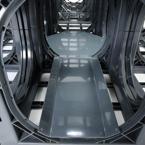 Viel Platz für die Kamerabefahrung: Aufgrund der Konstruktion liegt die Speicherfähigkeit des Systems D-Raintank 3000 bei 97 %, während eine übliche Kies- oder Schotterrigole nur ungefähr 30 % bis 35 % erreicht. Foto: Funke Kunststoffe