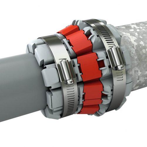 Die Funke FHS-Kupplung® ist für die Verbindung von Abwasserrohren mit unterschiedlichen Außendurchmessern, Werkstoffen und Oberflächenstrukturen geeignet.  Foto: Funke Kunststoffe