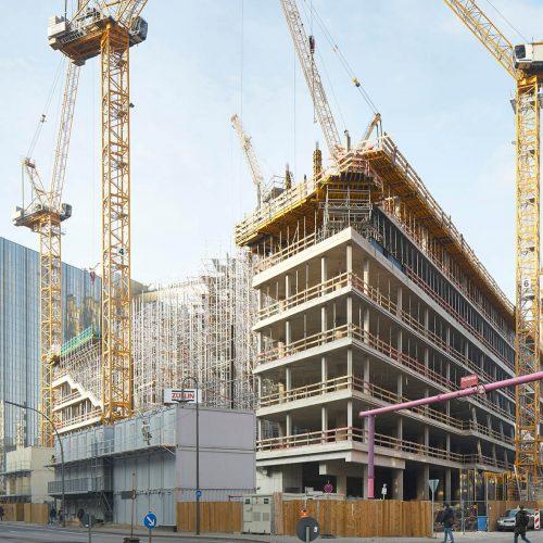 Für den Rohbau des neuen architektonischen Berliner Eyecatchers liefert die ULMA Betonschalungen und Gerüste GmbH eine Vielzahl von Bausteinen aus ihrem Systembaukasten. Foto: ULMA