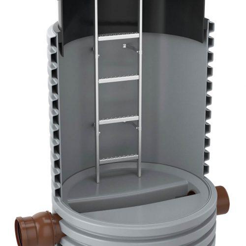 Der Funke Kunststoffschacht DN 1000 besteht aus einem Profilrohr, das über einen Schachtboden mit verschiedenen Gerinneformen verfügt. Auf Wunsch wird das Steigrohr ab Werk bereits mit einer entsprechenden Edelstahlleiter ausgestattet. Foto: Funke Kunststoffe GmbH