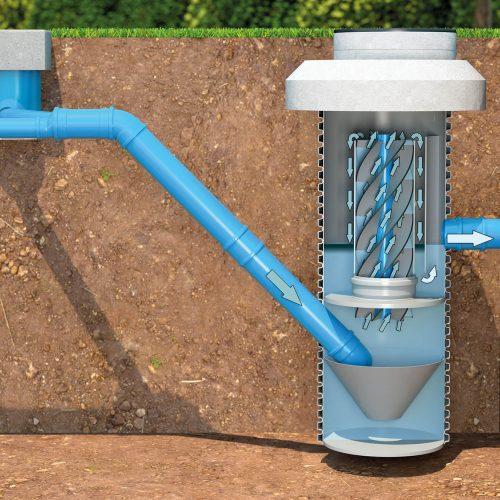 Das Niederschlagswasser, das den Sedimentationsschacht durchlaufen hat, kann in ein Oberflächengewässer abgeleitet werden. Foto: Funke Kunststoffe GmbH
