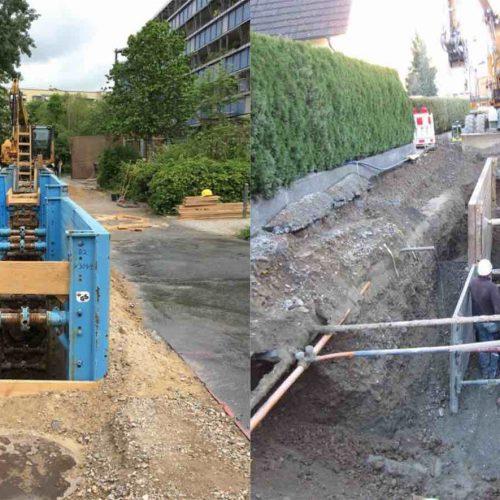Abb. 1: Fachgerecht (l.) und unsachgemäß (r.): Ein nicht fachgerecht eingestellter Verbau hat Einfluss auf das Gleichgewicht des umliegenden Erdreiches und kann zum Beispiel zu Setzungen führen, welche die angrenzende Bebauung erheblich schädigen kann.  Foto: Güteschutz Kanalbau