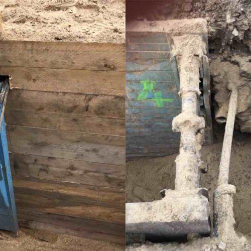 Abb. 3: Fachgerecht (l.) und unsachgemäß (r.): Aussparungen im Verbausystem sind grundsätzlich nicht zulässig – die Verkleidung muss vollflächig sein.  Foto: Güteschutz Kanalbau