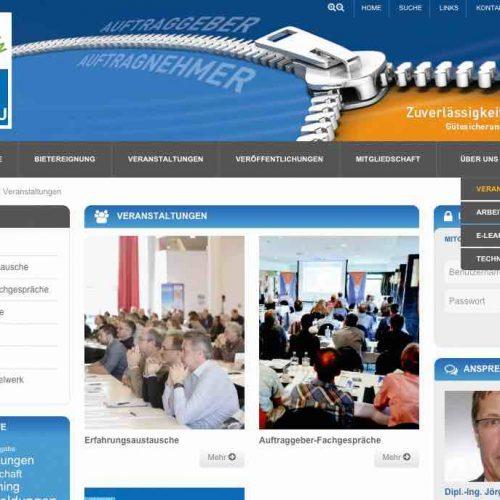 """Die Angebote zur Qualifizierung des Fachpersonals wurden auf der Homepage www.kanalbau.com unter dem Begriff AKADEMIE gesammelt und geordnet. Mit """"Veranstaltungen"""", """"Arbeitshilfen"""", """"E-Learning"""" und """"Technisches Regelwerk"""" existieren vier verschiedene Bereiche, die den Mitgliedern vorbehalten und daher passwortgeschützt sind. Abb.: Güteschutz Kanalbau"""