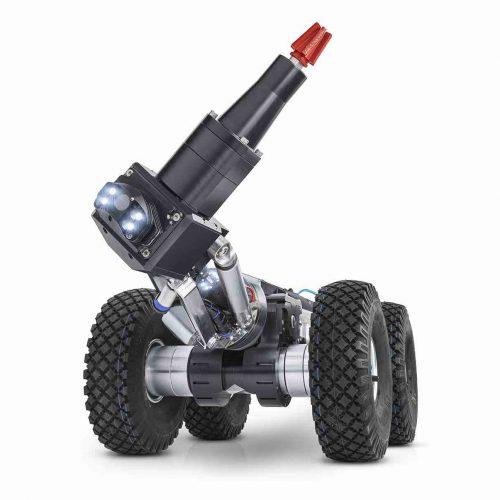MicroGator mit Fahrwagen-Zusatz für die Befahrung von DN 800 Rohren. Der MicroGator ist ein Fräsroboter für den Hauptkanal in Rohrdimensionen von DN 200 (gelinert) bis DN 800. Foto: IBAK Helmut Hunger GmbH & Co. KG