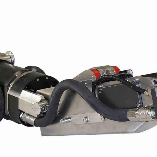 Fahrwagen Turbo 4 von der IMS Robotics GmbH für den Einsatz im Hauptkanal von DN 200 bis DN 800. Anwendungsbereiche: Fräsen, Verpressen, Verspachteln, UV-Aushärtung und Wasserhöchstdrucktechnik. Foto: IMS Robotics GmbH
