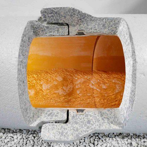 Im Markt einzigartig: Das Doppeldichtsystem des FABEKUN®-Kanalrohrsystems besteht aus der innen gekammerten Vakuumdichtung im Kunststoffrohr und der äußeren Lippendichtung im Betonrohr.  Foto: Gebr. Fasel Betonwerk GmbH