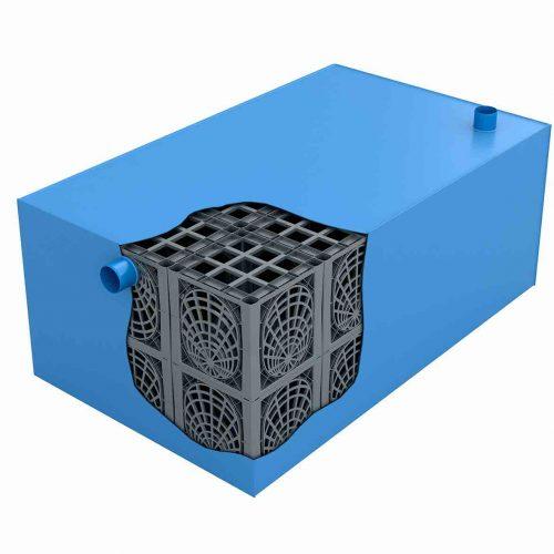 Die KS-Bluebox besteht aus werkseitig kunststoffummantelten D-Raintank 3000®-Elementen. Das System eignet sich nicht nur für die Zwischenspeicherung von Regenwasser, sondern – mit Blick auf eine spätere Entnahme und Nutzung – auch für eine dauerhafte Speicherung. Foto: Funke Kunststoffe