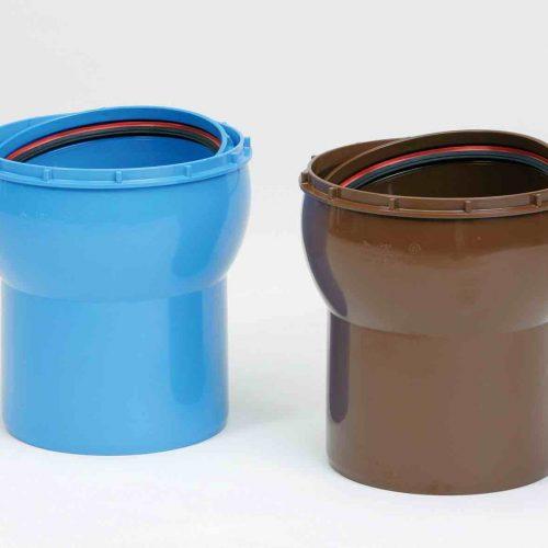 Die HS®-VARIOmuffe DN/OD 160/200 Muffe/Spitz sorgt für flexible Verbindungen. Foto: Funke Kunststoffe