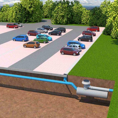 Die Funke Sedimentationsanlage nimmt das abfließende Niederschlagswasser von befestigten Oberflächen wie Dachflächen, Parkplätze und Verkehrsflächen auf. Foto: Funke Kunststoffe