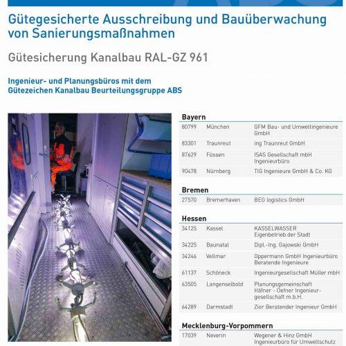 Die Verleihung des RAL-Gütezeichen Kanalbau der entsprechenden Beurteilungsgruppe wird dokumentiert und öffentlichkeitswirksam bekannt gemacht. Foto: Güteschutz Kanalbau