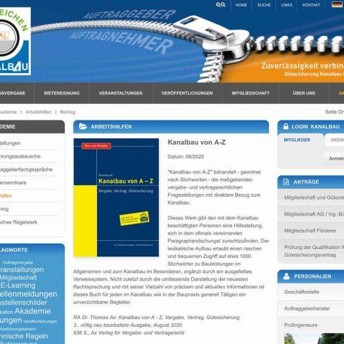 """Die von Dr. jur. Thomas Ax überarbeitete Neuauflage des Fachbuches """"Kanalbau von A – Z"""" stellt die Gütegemeinschaft Kanalbau Auftraggebern und Auftragnehmern als praxisorientierte Arbeitshilfe zur Verfügung. Foto: Güteschutz Kanalbau"""