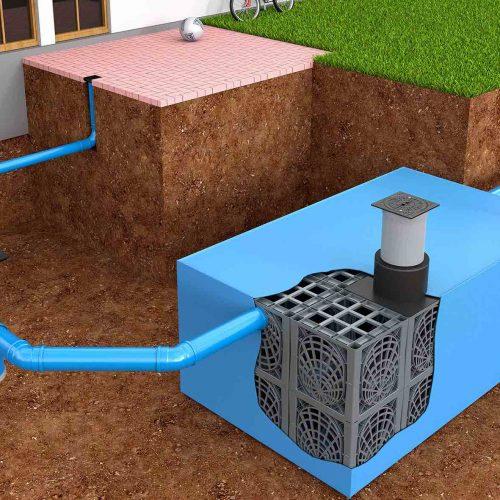 Die KS-Bluebox® besteht aus werkseitig kunststoffummantelten D-Raintank 3000®-Elementen und dient der Rückhaltung, Speicherung und Nutzung von Regenwasser. Foto: Funke Kunststoffe GmbH