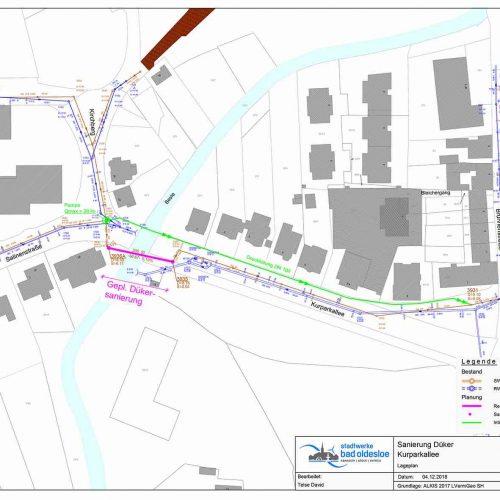 Der Düker kreuzt die Beste in der Stadt Bad Oldesloe. Lageplan: Stadtwerke Bad Oldesloe