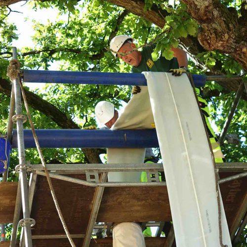 Auf dem Inversionsturm überwachen die Arbeiter den fachgerechten Einbau des Liners. Foto: D&S Rohrsanierung