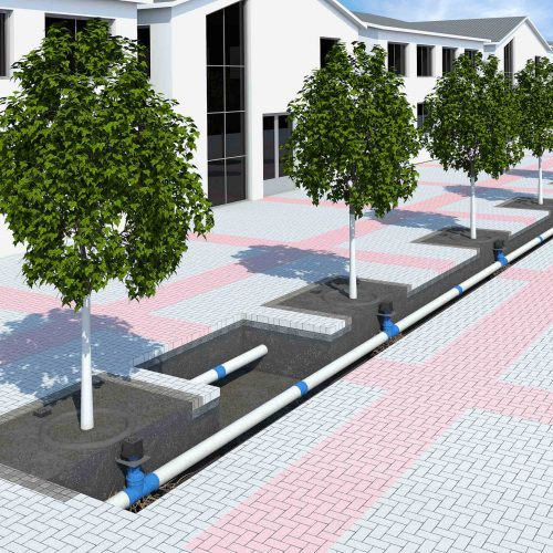 Blick in die Zukunft: Angesichts sich wandelnder klimatischer Rahmenbedingungen gilt es die Baumstandorte zu optimieren. Vernetzte Bewässerungssysteme zum Beispiel reduzieren die anzufahrenden Gießpunkte innerhalb einer Stadt oder können sogar ganz automatisiert werden. Foto: Funke Kunststoffe