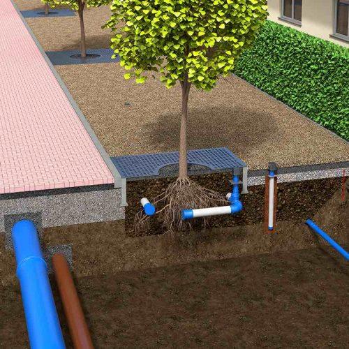 Variante mit Baumwurzelbelüfter und Baumbewässerungswinkel. Foto: Funke Kunststoffe