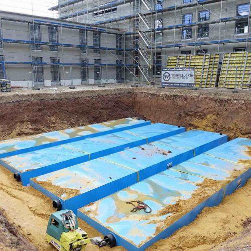 Auf dem Gelände der neuen Agentur für Arbeit in der Lewinskistraße in Kassel wird das Niederschlagswasser zukünftig gesammelt und gedrosselt abgeleitet. Foto: Funke Kunststoffe