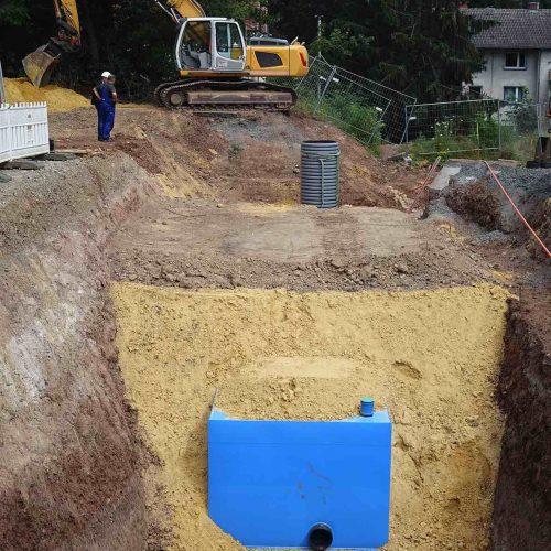 In einer zweiten kleineren Regenrückhalteanlage wurden zwei KS-Bluebox®-Elemente hintereinandergeschaltet. Foto: Funke Kunststoffe