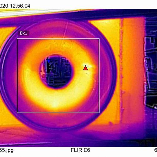 In einer zweiten Versuchsreihe heizten die Gutachter das FABEKUN®-Rohr von innen auf und hielten die Ergebnisse ebenfalls mit einer Wärmebildkamera fest. Foto: Gebr. Fasel Betonwerk