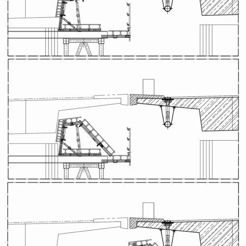 Superflexible dank MK-System: Der obere Teil des Schalungsgesperres lässt sich herunterklappen und die gesamte Konstruktion zusammen mit dem Traggerüst nach außen verschieben, ohne dabei gegen das benachbarte bereits fertiggestellte Teilbauwerk zu stoßen. Foto: ULMA Construction